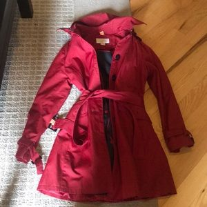 Michael Kors hooded, belted red trench coat